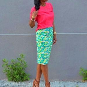 Boden Green Blue Pink Pastel Pencil Skirt 8L